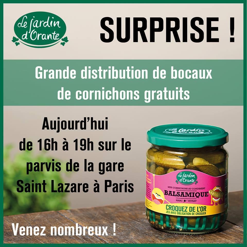 Bocaux de cornichons gratuits à Paris Saint-Lazare