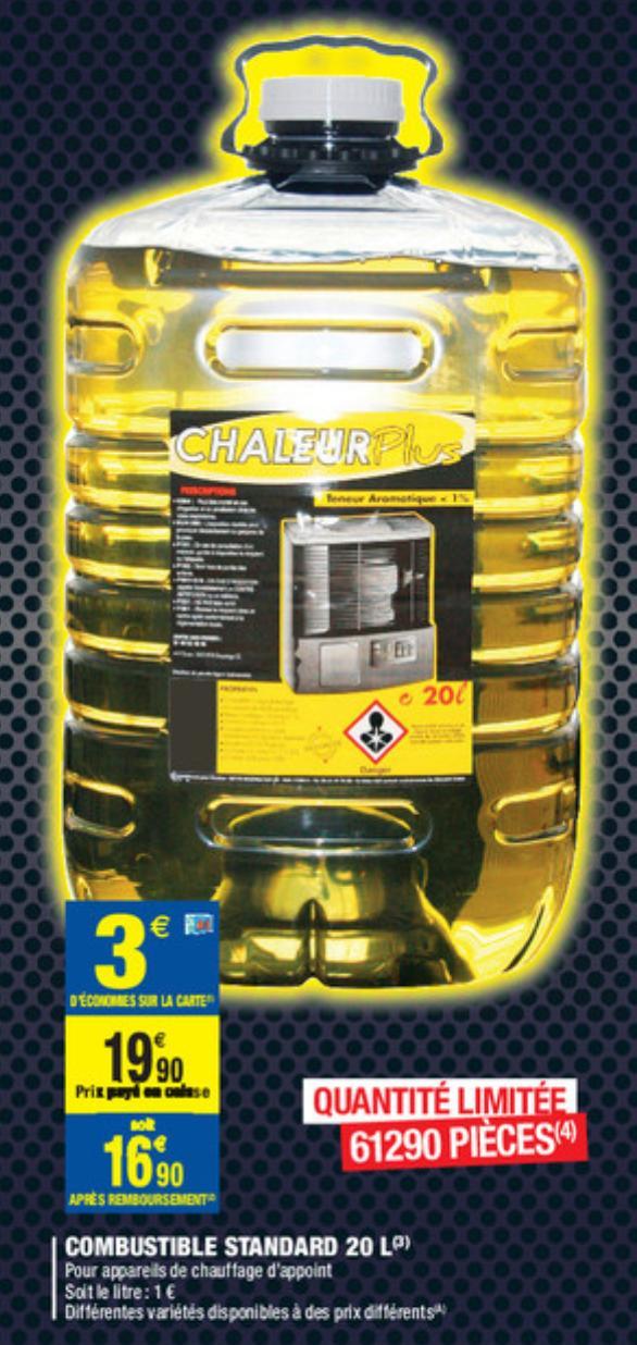 Combustible pour feux a pétrole - 20L (via 3€ fidélité) en vente dès le 25 novembre