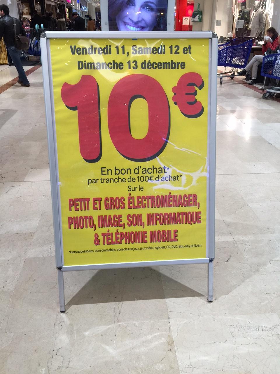 10€ offerts en bon d'achat par tranche de 100€ d'achat sur une sélection de rayons