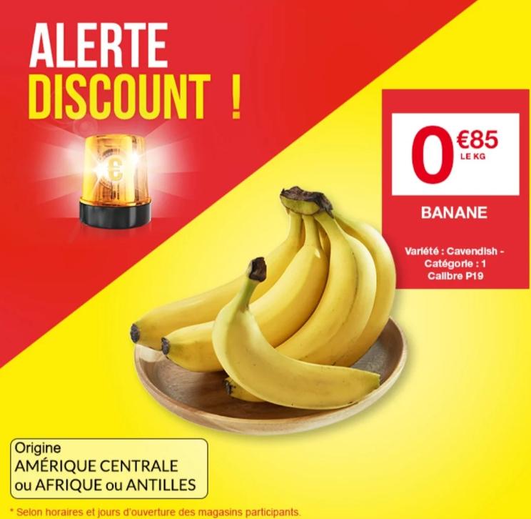 Bananes Cavendish (Origine Afrique, Amérique ou Antilles) -1 Kg