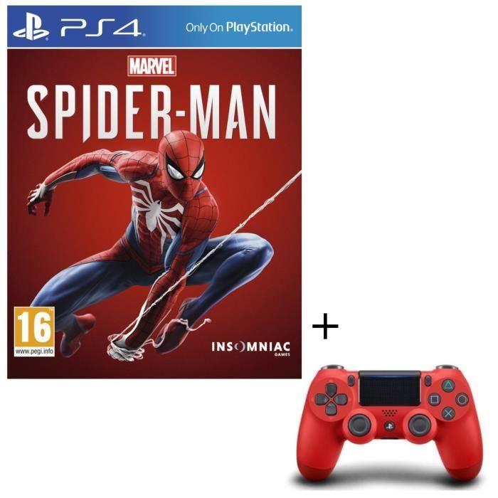 Manette PS4 DualShock V2 Rouge + Spider-Man sur PS4
