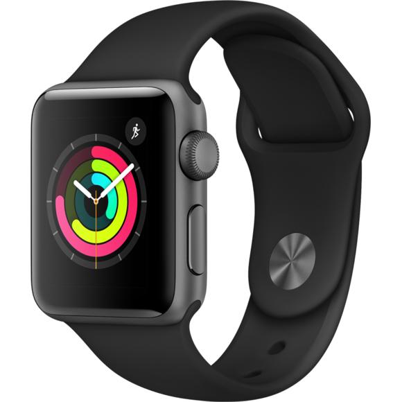Montre connectée Apple Watch 3 MTF02ZD/A - 38mm, Alu noir / Bracelet Sport noir