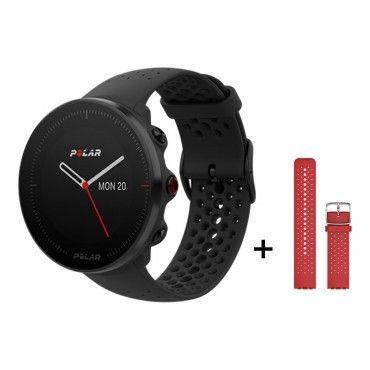 Montre GPS Polar Vantage M Black - Red strap, Noir