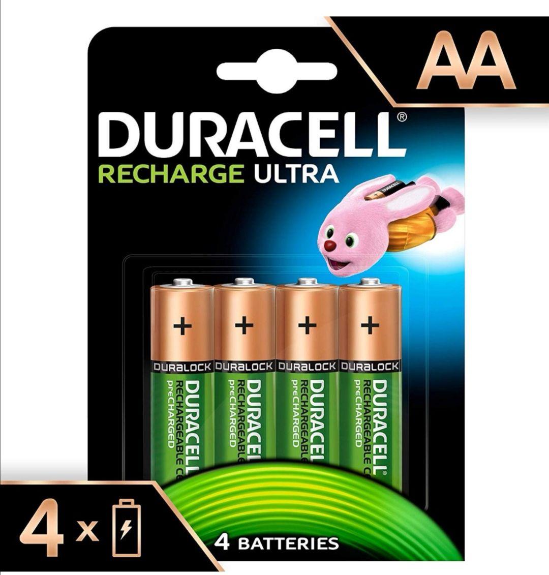 Lot de 4 piles rechargeables Duracell - AA, 2500 mAh