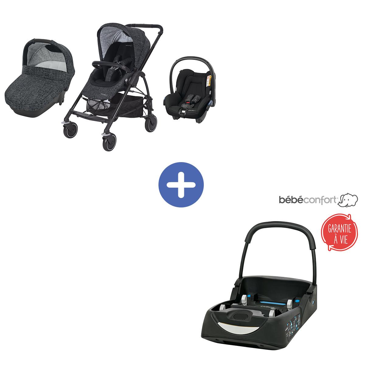 Poussette Trio Mya Black Grid de Bébé Confort + Coque citi offerte pour voiture