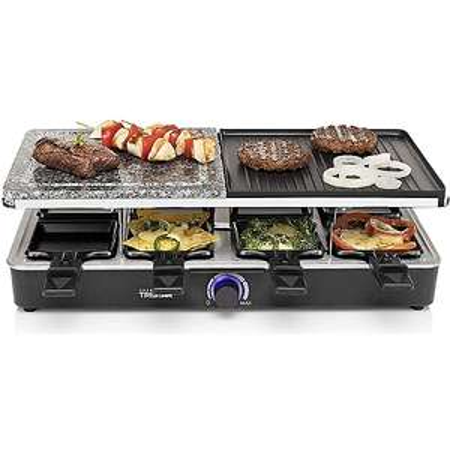 Appareil multi-fonction Raclette + Pierrade + Grillade Réversible Tristar - 8 personnes, 1400W, réglage de la température