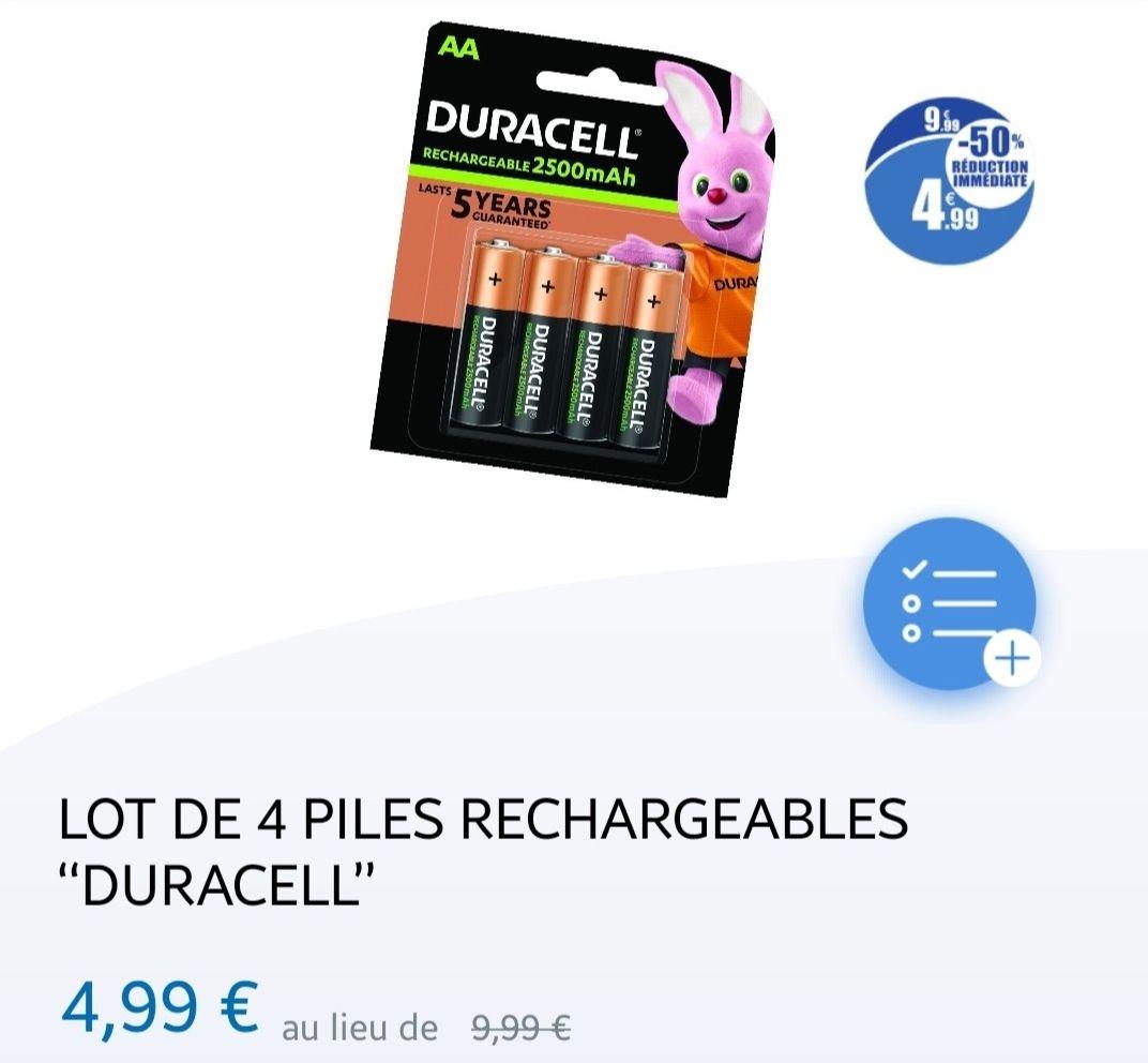Lot de 4 piles AA 2500mah Duracell rechargeable - Vitry sur seine (94)