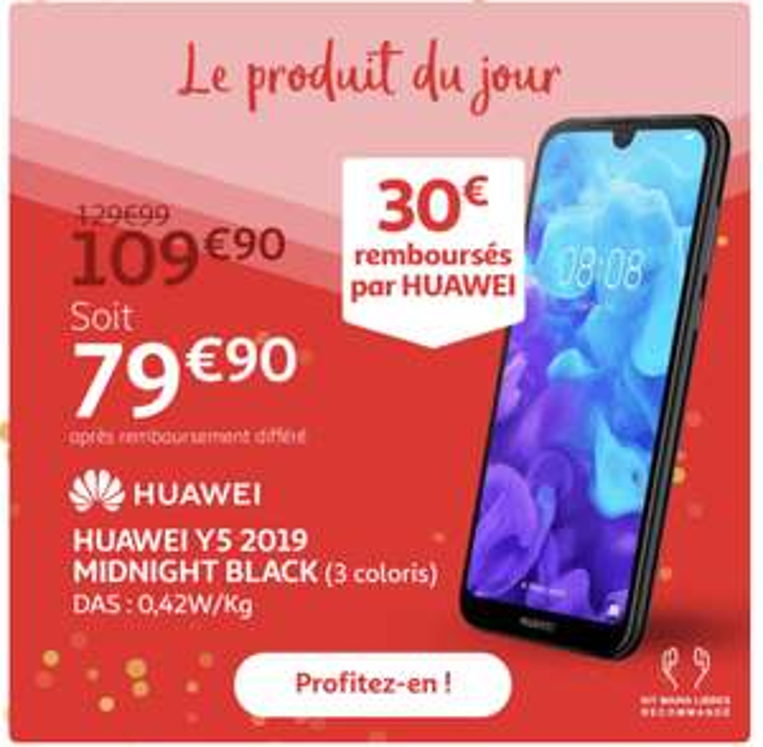 """Smartphone 5.71"""" Huawei Y5 2019 (via ODR de 30€)"""