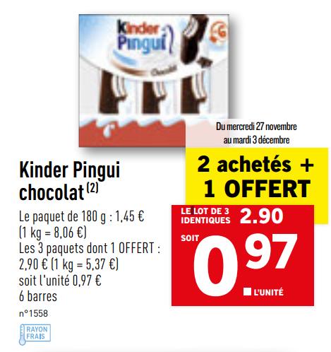 3 Paquets de Kinder Pingui Chocolat