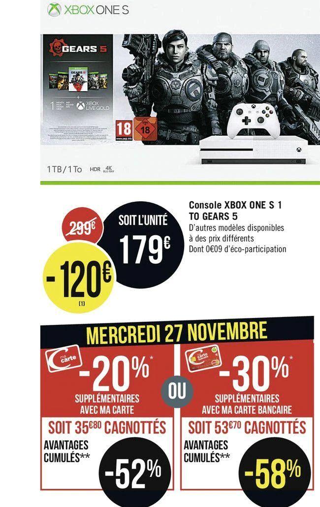 [CB Casino] Console Xbox One S 1To + Gears 5 + 1 Mois Xbox Live Gold (Via 53.70€ sur la Carte)