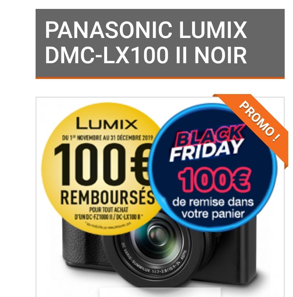 Appareil photo compact expert Panasonic Lumix LX100 II NOIR (Via ODR de 100€) - Capteur 4/3 17 MP (photo-univers.fr)