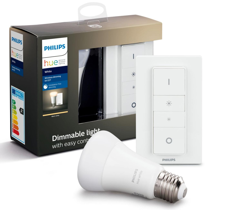 Ampoule LED connectée Philips HUE White (E27 ) + télécommande dimmer