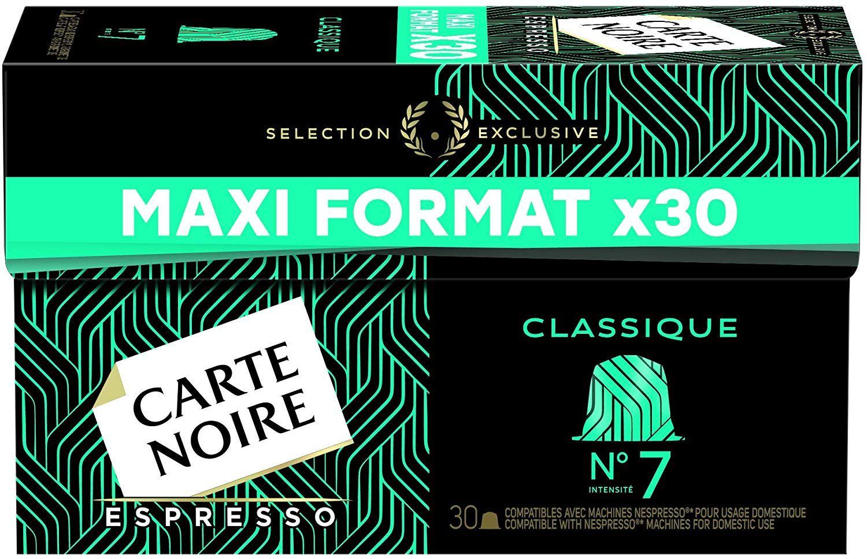 Lot de 4 paquets de capsules de café Carte Noire n°7 - Compatible Nespresso, 120 capsules