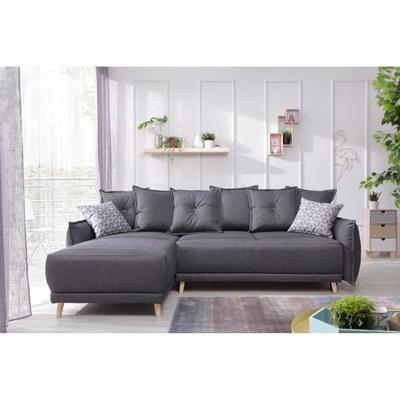 Canapé d'angle Lena - Réversible, Convertible, 235x155x90cm, Gris foncé