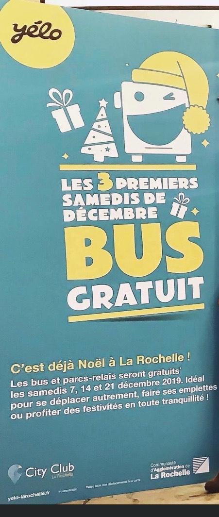 Bus gratuits les samedis 7, 14 et 21 décembre - La Rochelle (17)