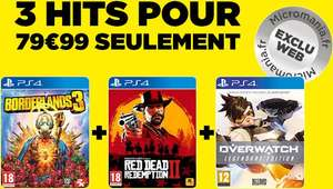 Pack de 3 jeux sur PS4 : Red Dead Redemption 2, Borderlands 3 & Overwatch