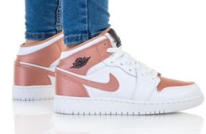 Chaussures Nike Air Jordan 1 Mid - Rose et blanc, taille 36 à 40