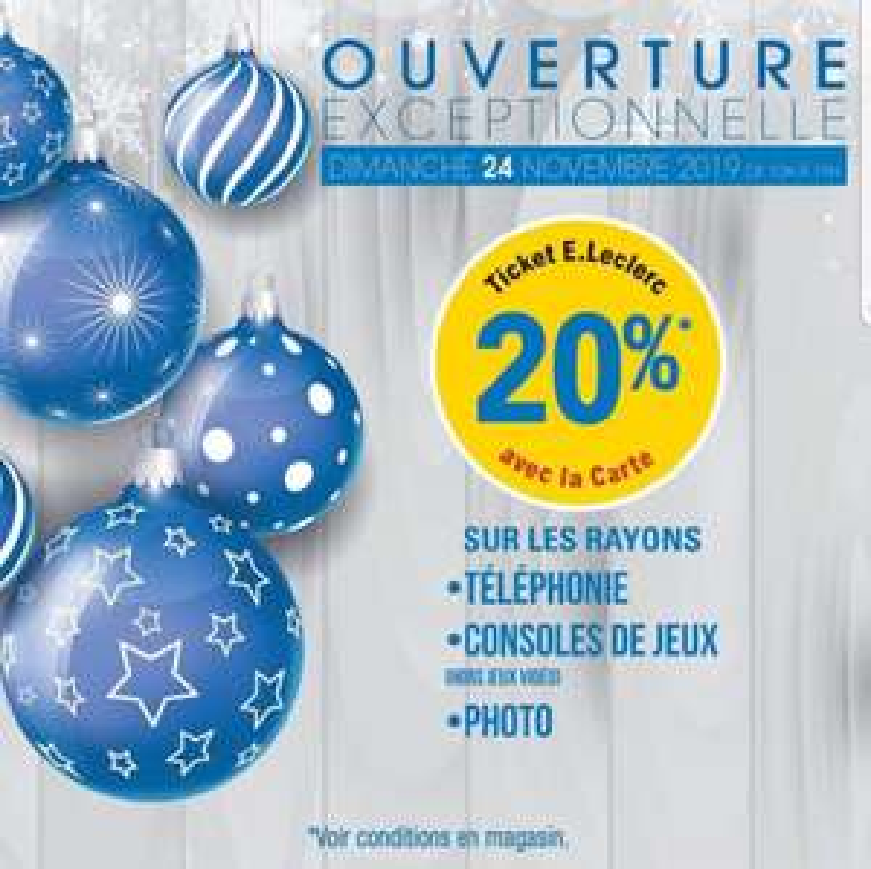 20% remboursés en bon d'achat sur les rayons Téléphonie, Consoles de jeux et Photo - Bois d'Arcy (78)