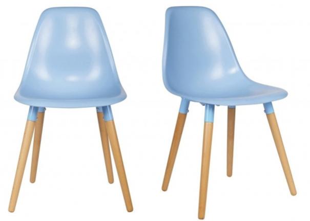 Lot de 2 chaises Roef bleu prétrole en polypropylène, piètement conique (homifab.com)