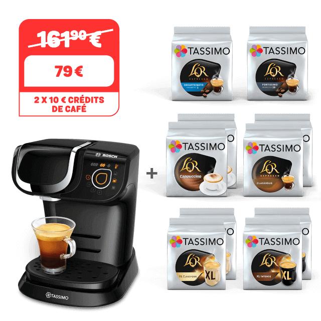 Machine à café dosette Tassimo My Way + 10 paquets de café