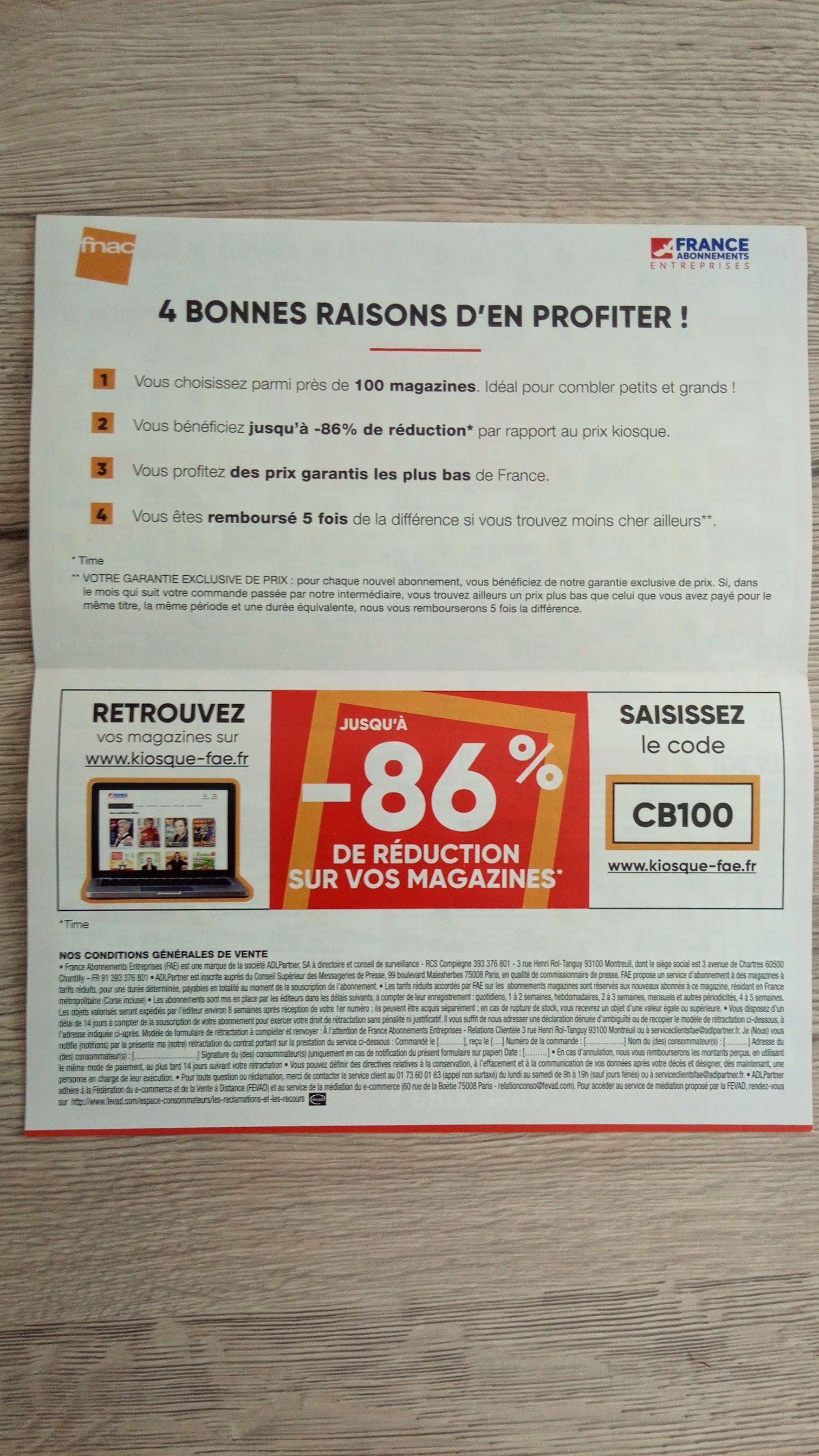 Jusqu'à 86% de réduction sur vos magazines