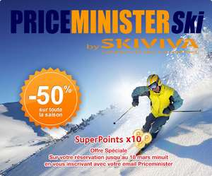 -50% sur votre location de skis + Super Points x10