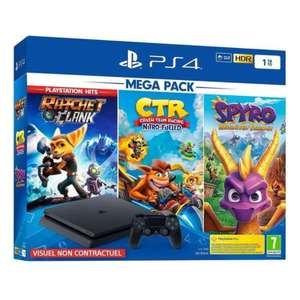 Pack Console Sony PS4 1 To + Crash team racing + Spyro + Ratchet Clank