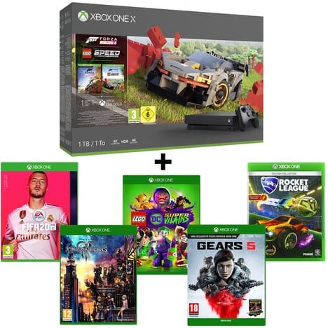 Pack Console Microsoft Xbox One X 1To Forza Horizon 4 + FIFA 20 + Gears 5 + Kingdom Hearts 3 + Rocket League + Lego DC Super Vilains