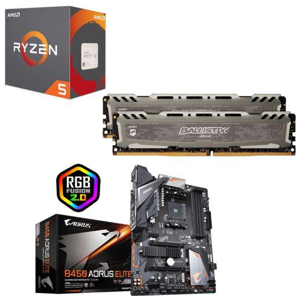 Processeur AMD Ryzen 5 2600 Wraith Stealth + Ballistix Sport LT 8 Go (2 x 4 Go) - 2666 MHz, CL16 + Carte Mère Gigabyte Aorus Elite B450