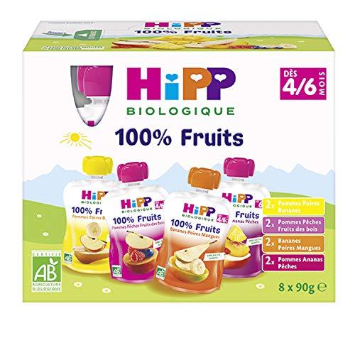 Lot de 32 gourdes Hipp Biologique 100% Fruits dès 4/6 mois - 4 Variétés, 32 x 90 g