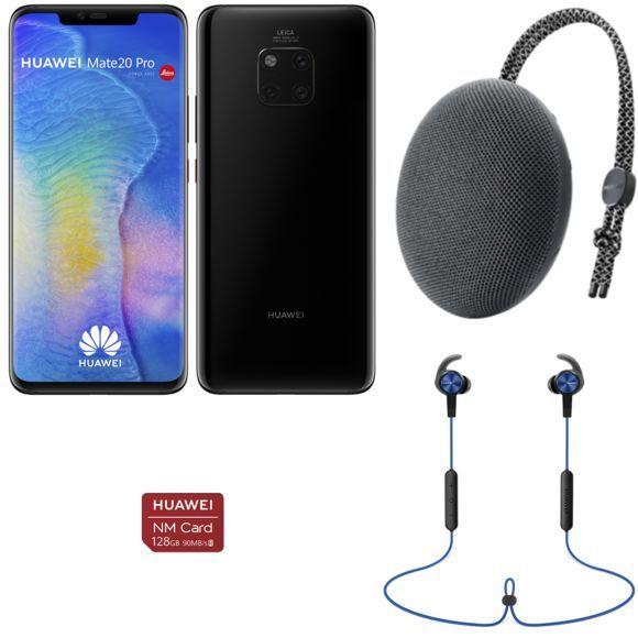 """Pack Smartphone 6.39"""" Huawei Mate 20 Pro + Carte Nano SD 128 Go + Enceinte bluetooth (CM51) + Écouteurs bluetooth sport (AM61)"""