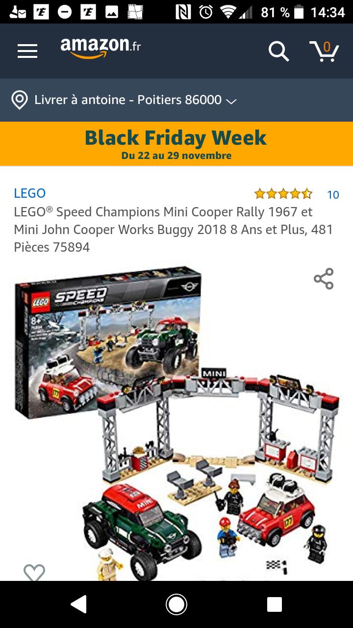 Jouet Lego Speed Champions (75894) - Mini Cooper S Rally 1967 et Mini John Cooper Works Buggy