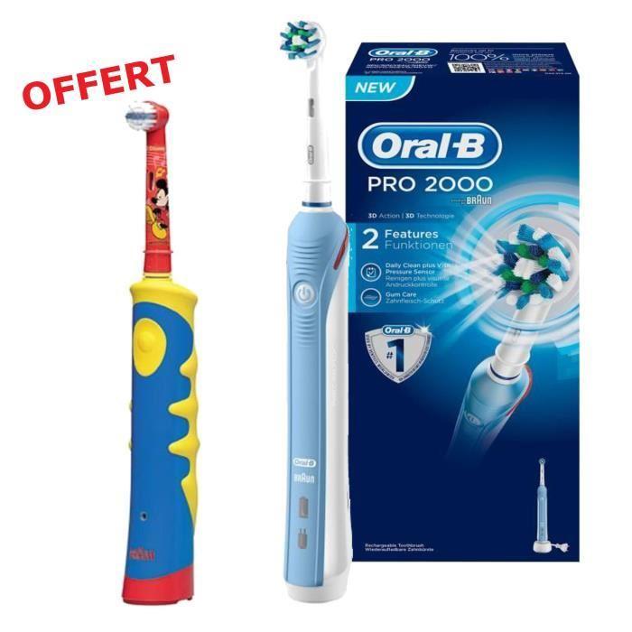 Brosse à dent Oral B PRO2000 + Brosse à dent enfant Oral-B Kid's Power offerte