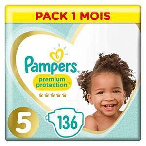 Pack Couches Pampers Premium Protection - Taille 5, 136 Couches, 11-16kg