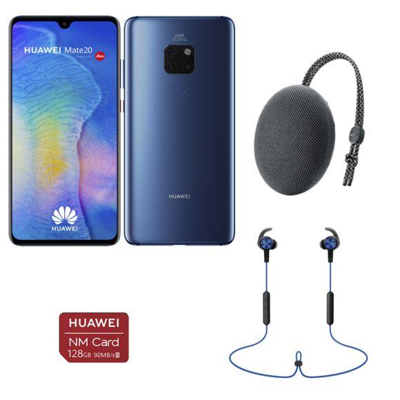 """Pack Smartphone 6.53"""" Huawei Mate 20 + Carte Nano SD 128Go + Enceinte bluetooth (CM51) + écouteurs bluetooth sport (AM61)"""