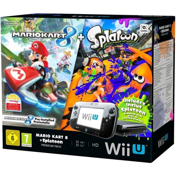 Pack Premium Wii U 32 go + Mario Kart 8 Préinstallé + Splatoon (en code de téléchargement)