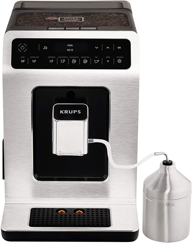 Machine à Café Automatique Krups EA891D10 avec Broyeur à Grains & Pot à Lait