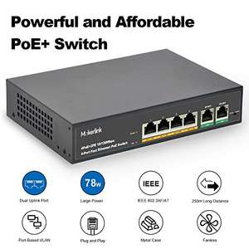Switch Ethernet PoE MokerLink Métal - 4 Ports, 2 Uplinks (Via Coupon - Vendeur Tiers)