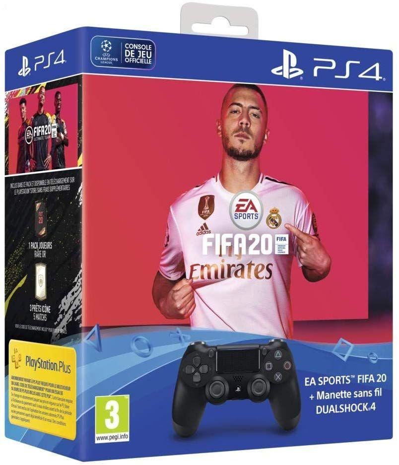 Pack Manette PS4 DualShock 4 V2 + FIFA 20 + FUT Points voucher + PS Plus 14 Jours