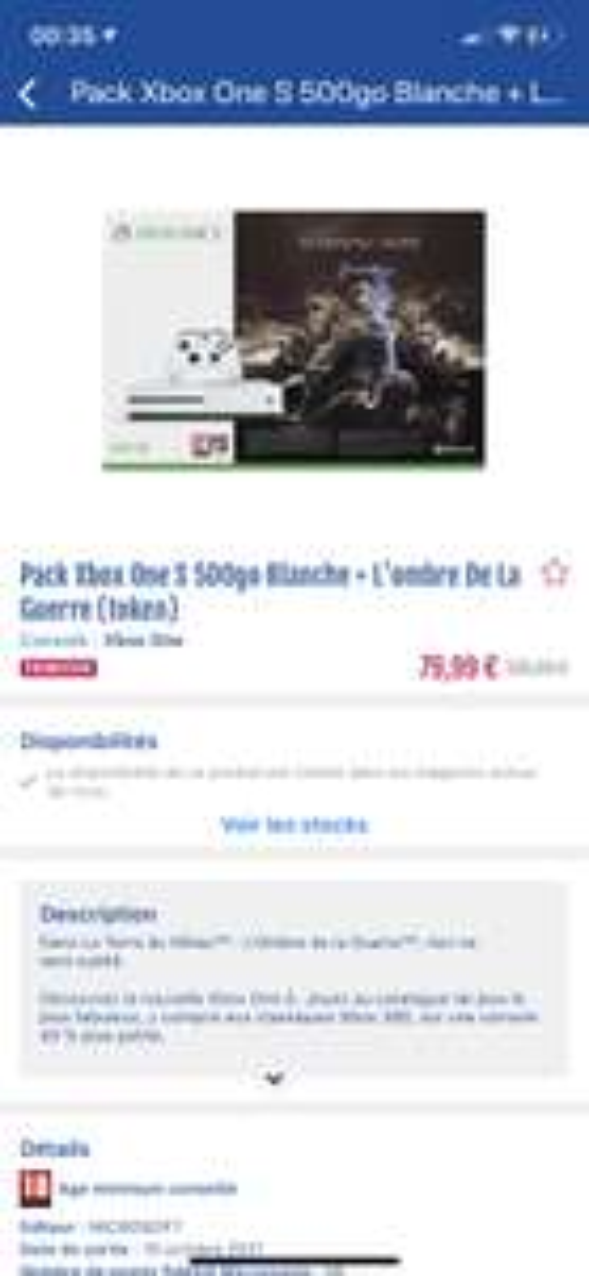 Pack Console Xbox One S - 500 Go + L'Ombre de la Guerre (75)