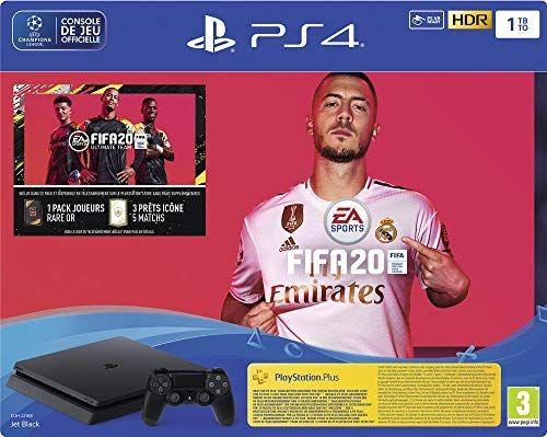 Console PS4 Slim 1 To F Noir + FIFA 20 + PS Plus 14 jours (Digital)