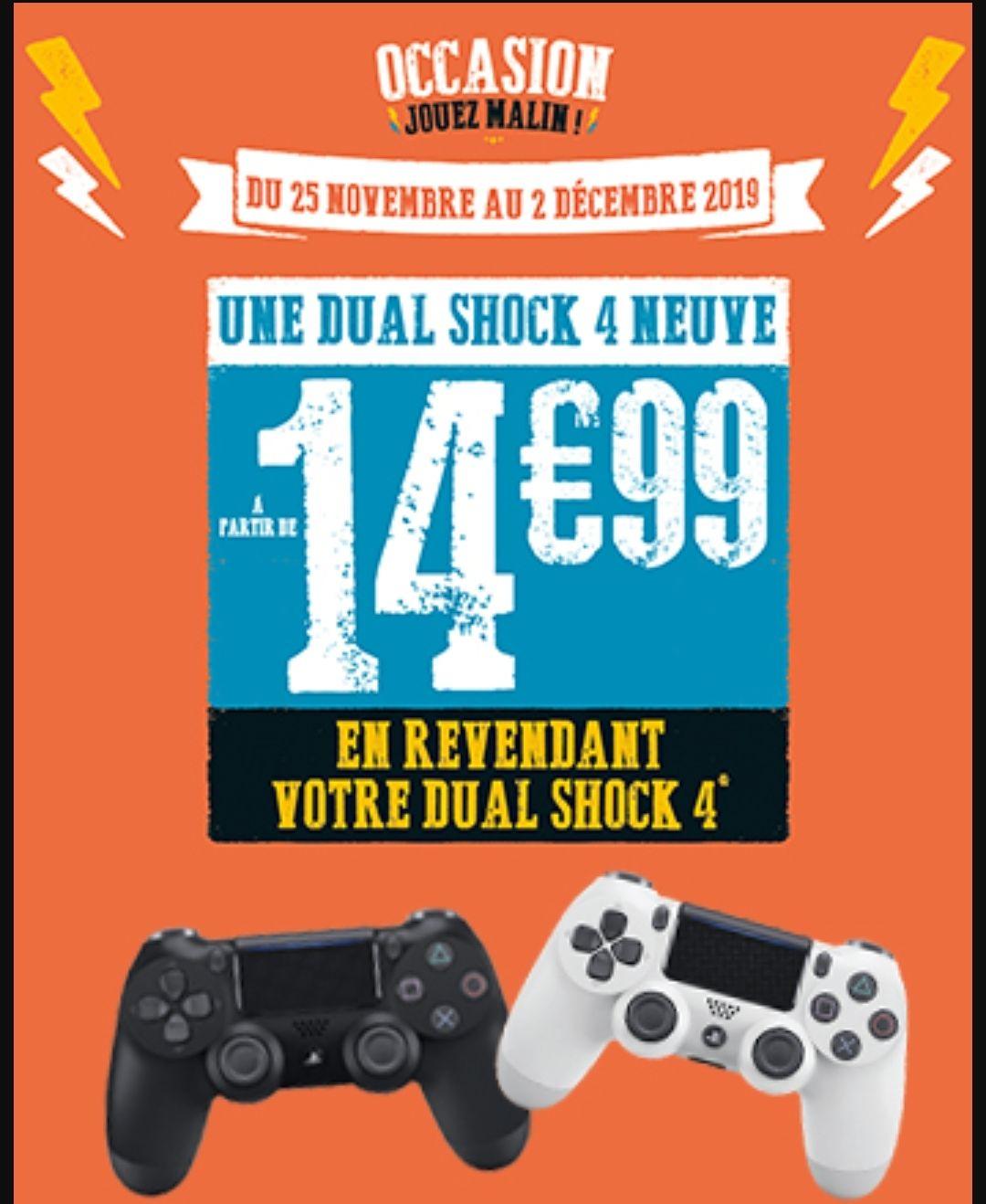 Manette Sony Dualshock 4 pour PS4 à 14.99€ (Sous conditions de reprise)