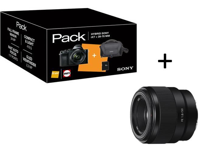 Pack Hybride Sony Alpha A7 + Objectif 28-70 mm f/3.5-5.6 + Objectif Hybride Sony FE 50 mm f/1.8 Noir + Housse + Carte mémoire SD 16 Go