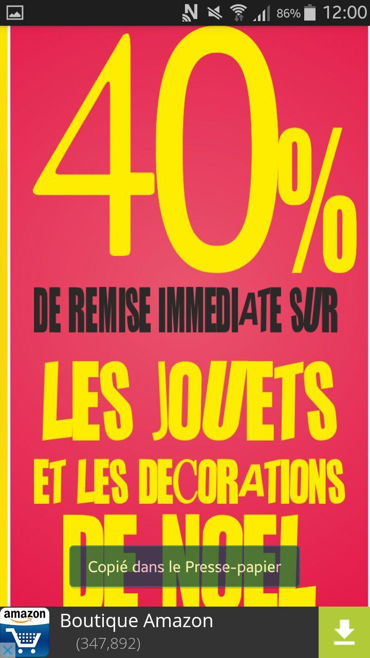 40% de réduction sur les Jouets et les décorations de noel