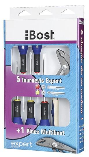 Lot 5 Tournevis expert + 1 pince multi Bost