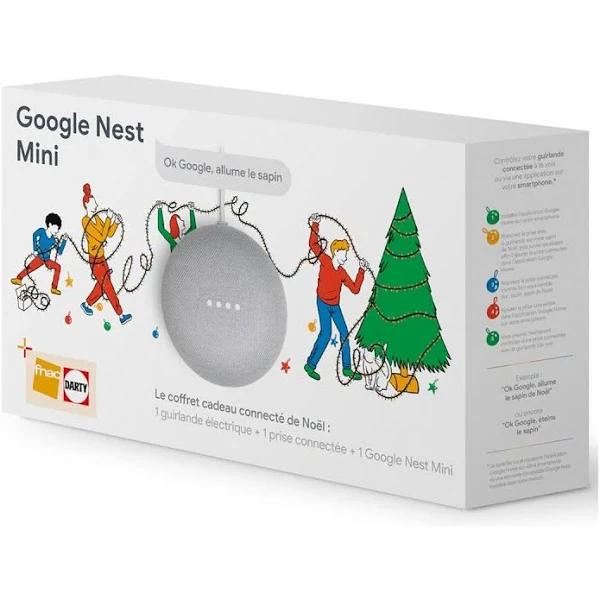 Coffret connecté de Noël Google Nest Mini + 1 guirlande + 1 prise connectée