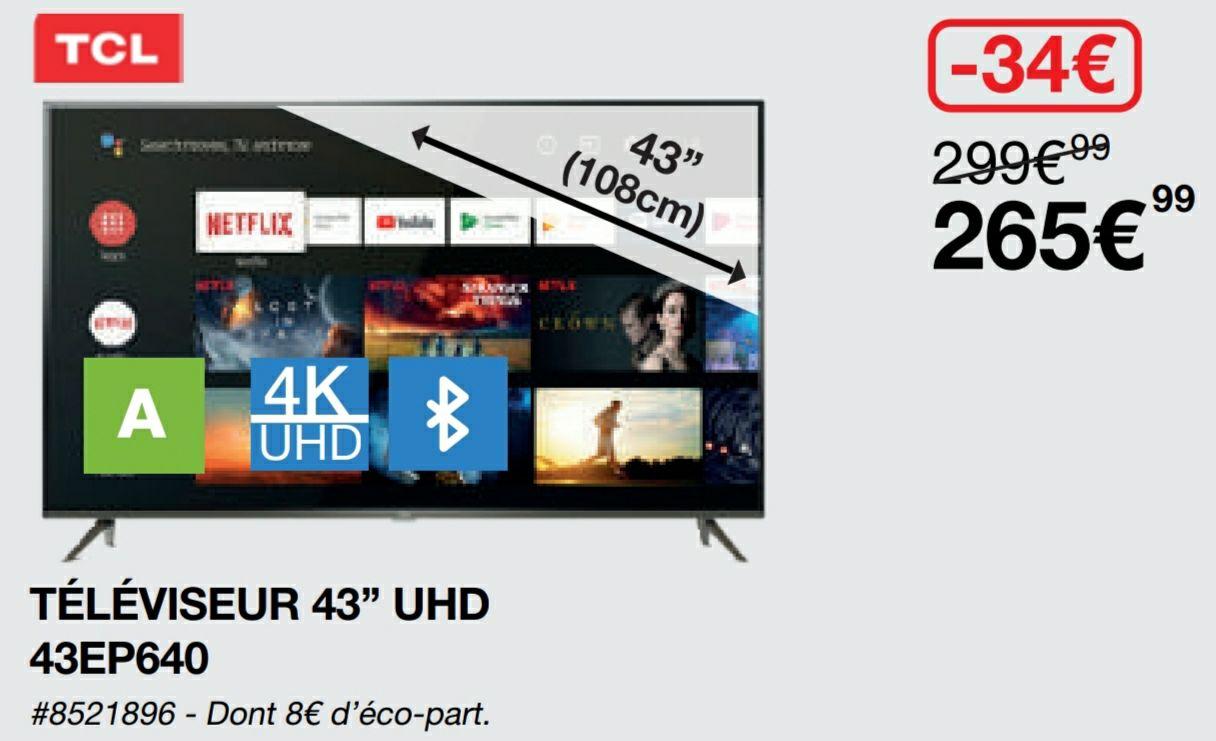 """[Carte Costco] TV 43"""" TCL 43EP640 - 4K Android - Villebon sur Yvette (91)"""