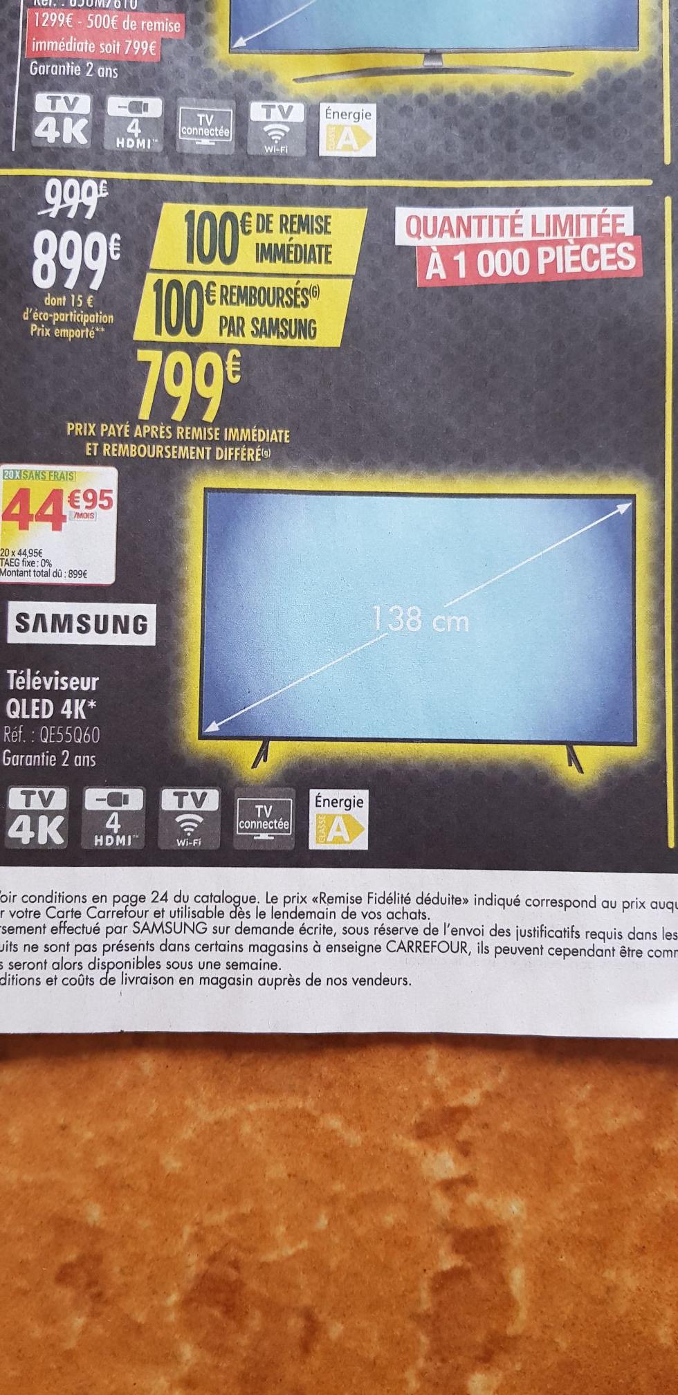 """TV 55"""" Samsung QE55Q60 - QLED, 4K UHD, HDR 10+, Smart TV (via ODR de 100€)"""