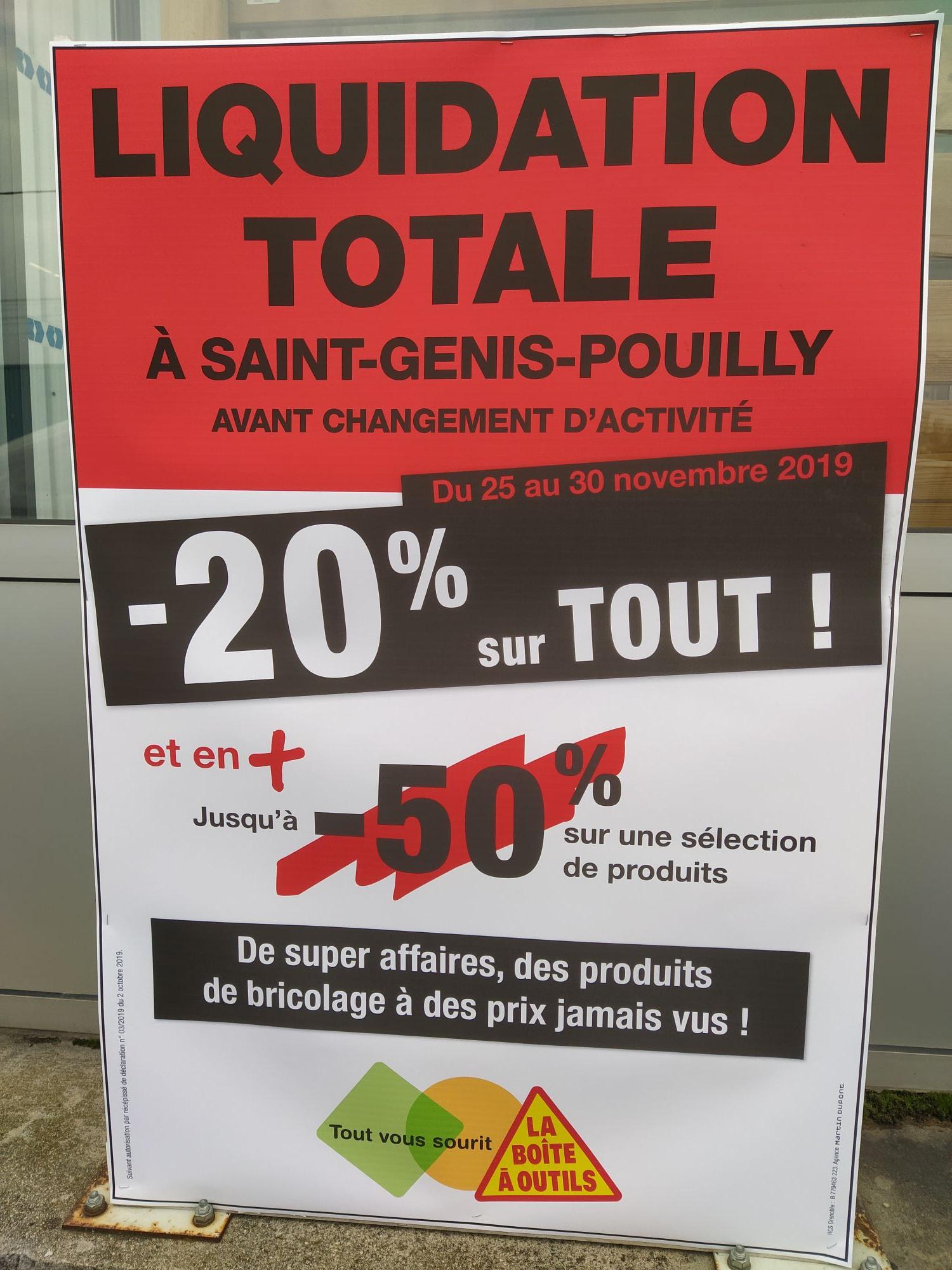 30% de réduction sur tout et 50% sur les produits signalés - Boîte à outils saint-genis-pouilly (01)