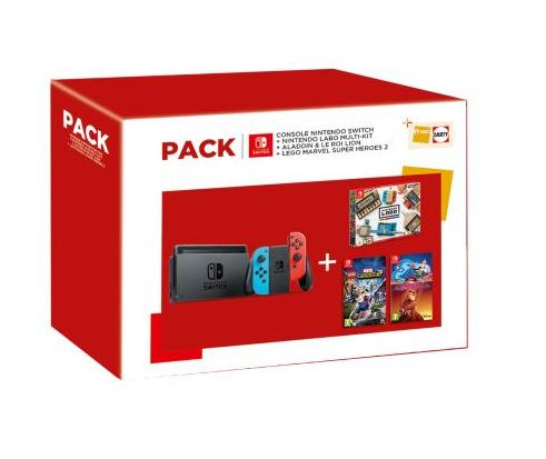 Console Nintendo Switch + Nintendo Labo Multi-Kit + Aladdin et le Roi Lion + Lego Marvel Super Heroes